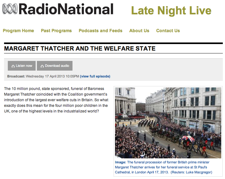 Margaret Thatcher and the Welfare State on ABC's Late Night Live with Beatrix Campbell