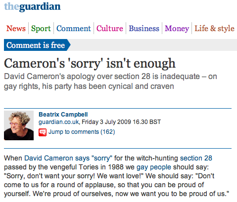 Beatrix Campbell on why Cameron's 'sorry' isn't enough; David Cameron's apology over section 28 is inadequate