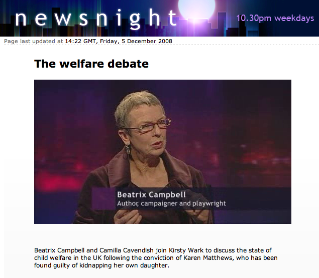 Beatrix Campbell takes part in the welfare debate on BBC's Newsnight