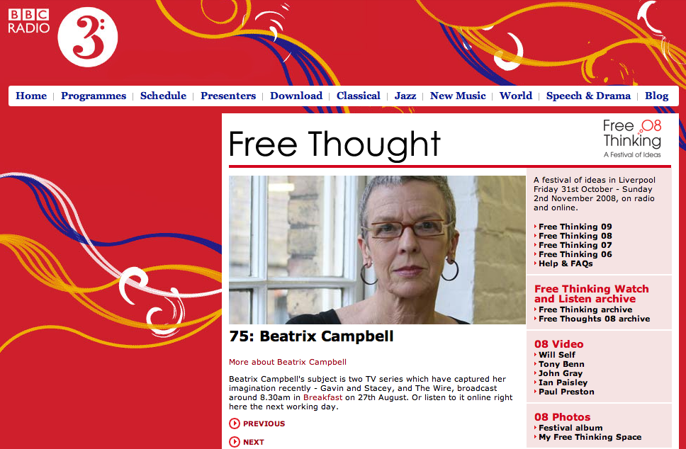 Free Thought on Radio 3: Beatrix Campbell