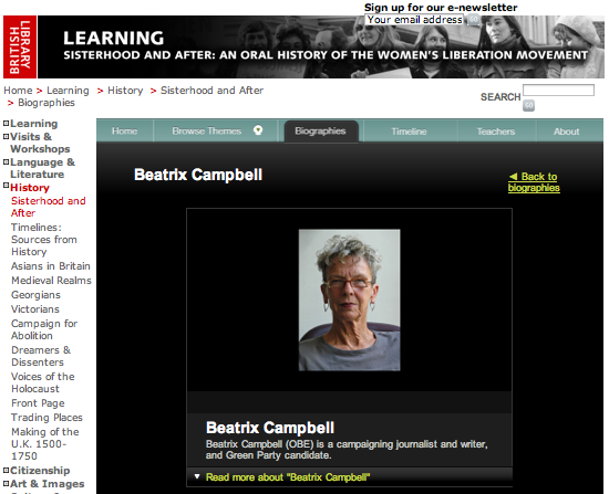 Beatrix Campbell at the British Library